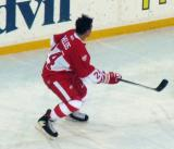 Chris Chelios skates near the goal during pre-game warmups before the second game of the Alumni Showdown.