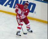 Kris Draper skates near the boards during pre-game warmups before the second game of the Alumni Showdown.