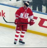 Joe Kocur skates during pre-game warmups before the second game of the Alumni Showdown.