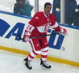 Chris Chelios skates along the boards during pre-game warmups before the second game of the Alumni Showdown.