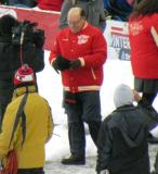 Red Wings alumni head coach Scotty Bowman is introduced before the second game of the Alumni Showdown.
