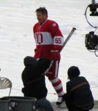 Larry Murphy is introduced before the second game of the Alumni Showdown.
