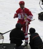 Chris Chelios is introduced before the second game of the Alumni Showdown.