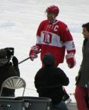 Nicklas Lidstrom is introduced before the second game of the Alumni Showdown.
