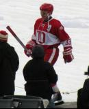 Kris Draper is introduced before the second game of the Alumni Showdown.