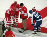 Steve Yzerman, Mark Howe, Gordie Howe, Ted Lindsay and Darryl Sittler get set for a ceremonial faceoff before the start of the second Alumni Showdown game.