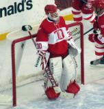 Chris Osgood stands in his crease before the start of the second Alumni Showdown game.