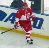 Doug Brown skates along the boards before the start of the second Alumni Showdown game.