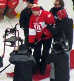 Vladimir Konstantinov poses for a photo before the start of the second Alumni Showdown game.