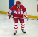 Nicklas Lidstrom skates in the neutral zone during the second Alumni Showdown game.