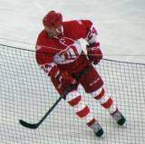 Joe Kocur, wearing Bob Probert's jersey, skates during the second Alumni Showdown game.