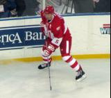 Nicklas Lidstrom positions himself in the corner during the second Alumni Showdown game.