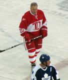 Mickey Redmond skates through the neutral zone during a stoppage in the second Alumni Showdown game.