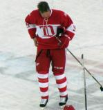 Larry Murphy skates during a stoppage in the second Alumni Showdown game.