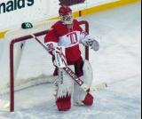 Chris Osgood stands in his crease during a stoppage in the second Alumni Showdown game.