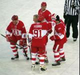Mark Howe, Brian Rafalski, Mickey Redmond, Sergei Fedorov and Vyacheslov Kozlov celebrate a goal during the second Alumni Showdown game.