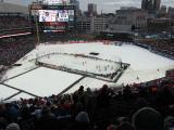 The rink at Comerica Park and the Detroit skyline during the second Alumni Showdown game.