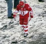 Steve Yzerman walks back to the dugout after the first period of the second Alumni Showdown game.