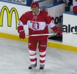 Viacheslav Fetisov comes off the bench in the second period of the second Alumni Showdown game.