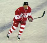 Igor Larionov skates across the blue line during the second Alumni Showdown game.