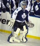 Curtis Joseph skates back from the bench during a stop in play in the second Alumni Showdown game.