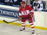 Doug Brown stands in front of the Toronto alumni bench during the second Alumni Showdown game.