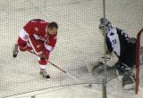 Tomas Holmstrom fakes out Curtis Joseph on a shootout attempt at the end of the second Alumni Showdown game.