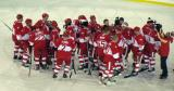 The Red Wings alumni celebrate a win in the second game of the Alumni Showdown.