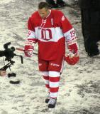 Steve Yzerman walks back to the dugout after the end of the second game of the Alumni Showdown.