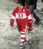 Brendan Shanahan walks back to the dugout after the end of the second game of the Alumni Showdown.