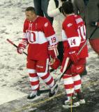 Steve Yzerman and Brendan Shanahan walk to the dugout after the end of the second game of the Alumni Showdown.