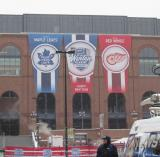 Winter Classic banners adorn the east side of Michigan Stadium, as seen from the Spectator Plaza.