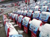 Snow-covered seats at Michigan Stadium prior to the start of the Winter Classic.