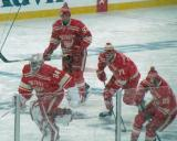 Petr Mrazek, Mikael Samuelsson, Daniel Cleary and Brian Lashoff take to the ice for pre-game warmups before a snowy Winter Classic.