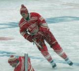 Joakim Andersson skates during pre-game warmups before a snowy Winter Classic.