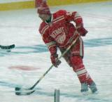Mikael Samuelsson skates during pre-game warmups before a snowy Winter Classic.