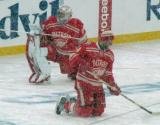 Petr Mrazek and Jakub Kindl stretch during pre-game warmups before a snowy Winter Classic.