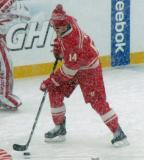 Gustav Nyquist puckhandles during pre-game warmups before a snowy Winter Classic.