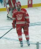 Darren Helm stands at the blue line during pre-game warmups before a snowy Winter Classic.