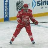 Pavel Datsyuk skates prior to the start of a snowy Winter Classic.