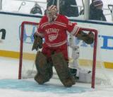Jimmy Howard gets set in his crease at the start of the second period of a snowy Winter Classic.