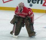 Jimmy Howard comes out to the top of his crease at the start of the second period of a snowy Winter Classic.