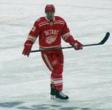 Brian Lashoff skates during a stoppage in the second period of a snowy Winter Classic.