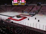 The Joe Louis Arena ice set up for Nicklas Lidstrom's jersey retirement ceremony.