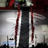 The Red Wings players line a black carpet to welcome Nicklas Lidstrom to his jersey retirement ceremony, all wearing Lidstrom's #5 jersey.