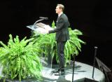 Nicklas Lidstrom speaks during his jersey retirement ceremony.