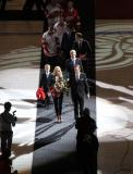 Nicklas Lidstrom and his family lead the assembled alumni and executives out of the ceremony for his jersey number retirement.