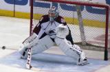 Colorado goalie Semyon Varlamov squares to a shooter during pre-game warmups before a game against the Detroit Red Wings.