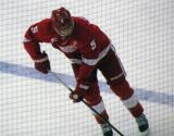 Justin Abdelkader skates across the blue line during pre-game warmups, wearing Nicklas Lidstrom's jersey in honor of its retirement.