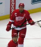 Niklas Kronwall skates during pre-game warmups, wearing Nicklas Lidstrom's jersey in honor of its retirement.